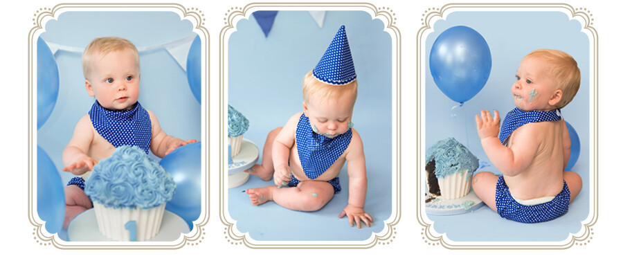 Cake Smash and Splash Photoshoot with blue giant cupcake and bunting