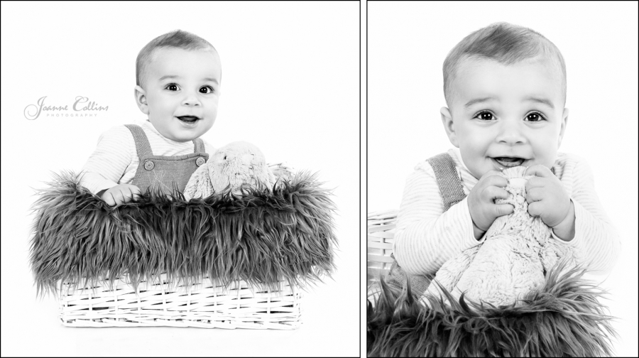 Baby Studio Photographer Maidstone 6 month baby in basket with fur blanket and rabbit