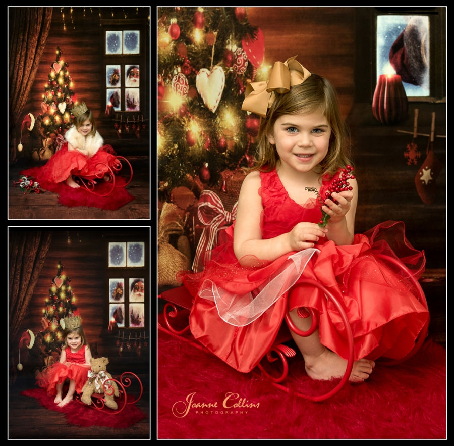 Childrens Christmas Photoshoot 3 year old girl by christmas tree with party dress and crown