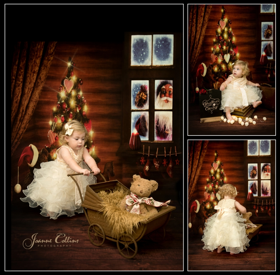 Baby Christmas Photoshoot 14 month old baby in gold bow dress smiling