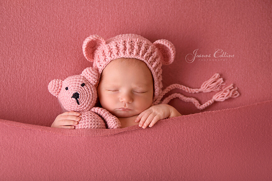 Baby Photographer Crowborough Kent 8 days old baby girl with pink teddy