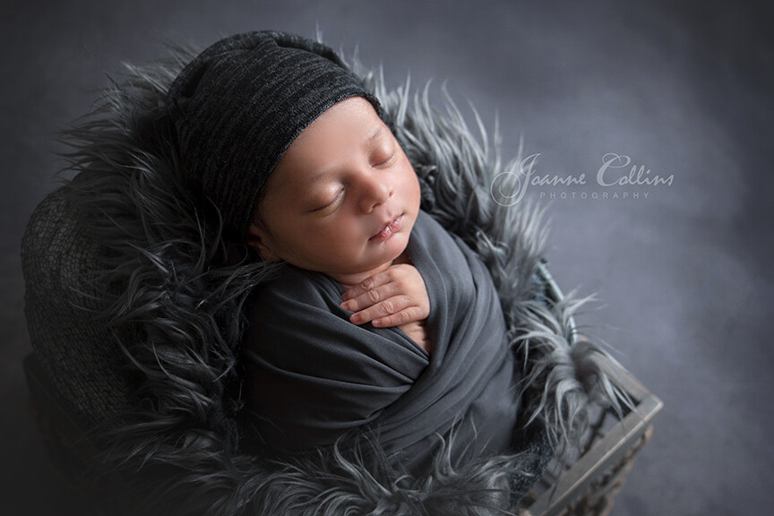 Maidstone Baby Photographer 10 days old baby boy in grey